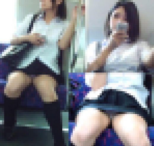 電車内にて制服女子の盗撮対面パンチラ動画 サンプル画像