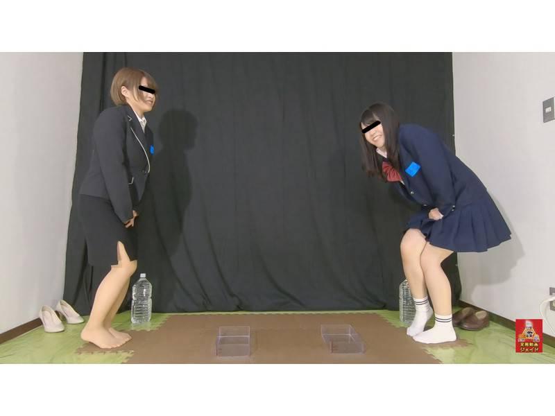 おしっこガマン極限対決 女学生とOLのお漏らし勝負 3 1/2 サンプル画像